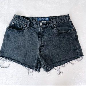 GUESS VTG High Rise Black Denim Cut Off Shorts